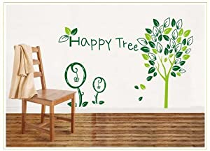 OneHouse Happy Tree Word Green Leafs Enjoyment Art Decal for Sitting Room or Bedroom Elegant Decor from OneHouse