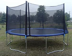 ExacMe 15' Ft Trampoline w/ Safety Pad and Enclosure Net and Ladder All-in-one Combo Set