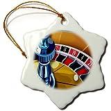 3dRose orn_20584_1 Roulette Porcelain Snowflake Ornament, 3-Inch