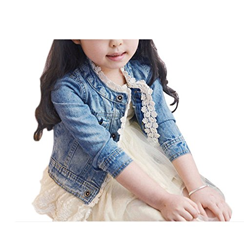 Artfasion Autumn Girls Fashion Denim Jeans Lace Outwear Jacket Cowboy Overcoat (5-6Y)