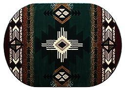 Southwest Native American Oval Area Rug Design C318 Hunter Green (5 Feet 3 Inch X 7 Feet 2 Inch) Oval