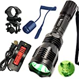 WindFire® [A Complete Set] WF-802 350 Lumens Waterproof 18650 Battery Tactical Flashlight 250 Yard Long Range Throwing Green Hunting Light Green Cree LED Coyote Hog Hunting Light Lamp Torch with Remote Pressure Switch & Barrel Mount 18650 Rechargeable battery and Charger for Hunting Fishing