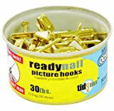 OOK 50611 ReadyNail Conventional Picture Hook Tidy Tin Supports Up to 30 Pounds, 25 sets, Brass 25 sets