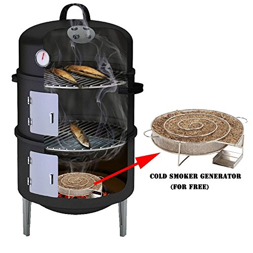 17″ Black Steel Multi-functional BBQ Charcoal Grill Smoker ...