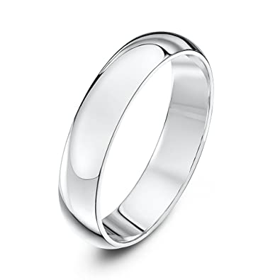 Theia 18ct Ladies Heavy D-Shape Wedding Ring - 4 mm, White Gold