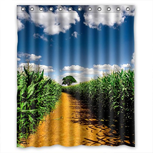 Green Corn Field Bestselling New Style Custom Fabric Shower Curtain 60(W)x72(H) (Fabric With Corn Design compare prices)