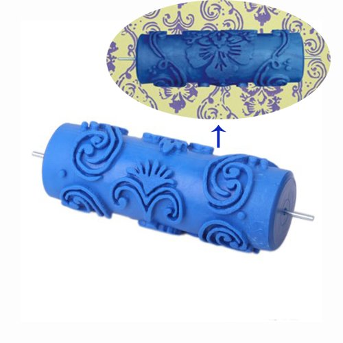 15cm Wall Decoration Empaistic Flower and Dot Pattern Painting Roller for Decoration Machine - Blue