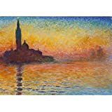 Tallenge Old Masters Collection - Sunset In Venice By Claude Monet - Premium Quality Rolled Canvas Art Print For Home And Office Décor