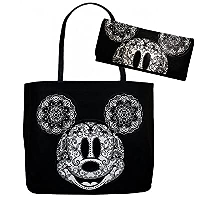 Disney Mickey Mouse Floral Paisley Mandala Tote Bag and Wallet Set by