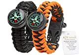 A2S Paracord Bracelet Survival Gear Kit Colorful Everest Series with built-in New Type Compass, Fire Starter, Emergency Knife & Whistle - Pack of 2 - Quick Release Buckles (Black / Orange)