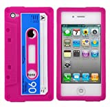 LUPO Retro Cassette Tape Style Silicone Skin Case for iPhone 4 - PINK