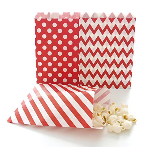Red Party Bags, Paper Christmas Candy Treat Bags, Holiday Wedding Favor Gift Bags, 75 Pack - Red Striped, Polka Dot & Chevron Bags (Popcorn Bag Flat compare prices)