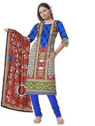 BalajiWomen's Crepe Unstitched dress material(109-multicolor-free size)