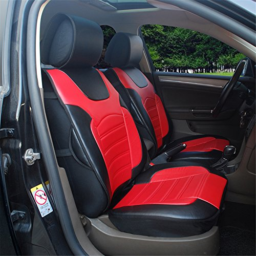 180208S Black/Red-2 Front Car Seat Cover Cushions Leather Like Vinyl, Compatible to Dodge Charger Challenger Dart 2017-2007 (Leather Dodge Dart Seat Covers compare prices)