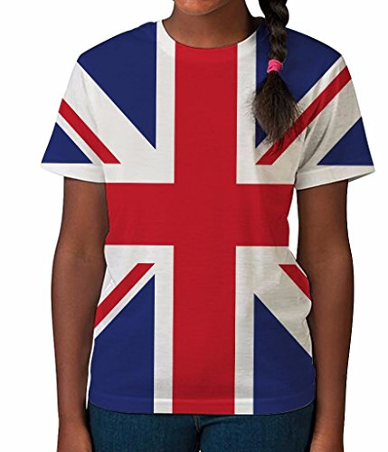 Kids Graphic Tee Youth T Shirt Union Jack Flag Clothes for Girls (British Shirt For Girls compare prices)