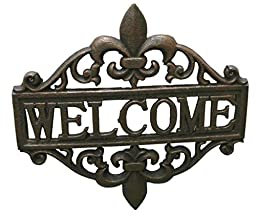 Fleur De Lis Welcome Sign Cast Iron by TarrKenn