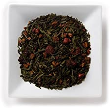 Mahamosa Flavored Green Tea Blend and Tea Infuser Set 2 oz Berry Orchid Sencha Green Tea 1 Stainless
