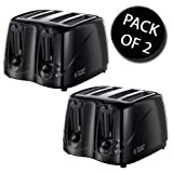 2x Russell Hobbs 14340 4 Slice Compact Toaster - Black