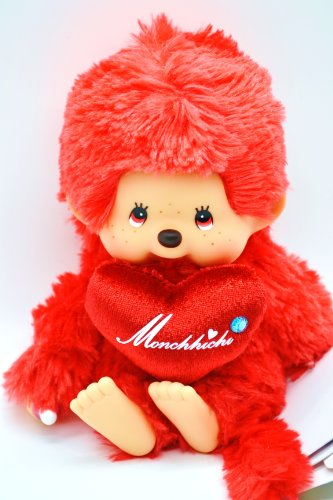 "Sekiguchi Authentic Limited Edition Monchhichi "" LOVE LOVE"" RED Doll 8"" (20 cm) . FREE US SHIPPING. - 1"