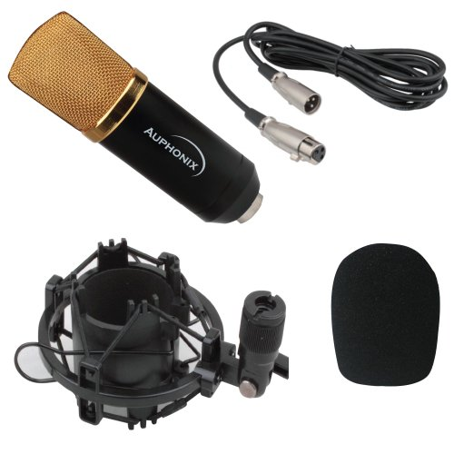 Auphonix Supercardiod Condenser Microphone - Complete Kit With Shock Mount, Wind Screen And Xlr To Xlr Cable - Perfect Microphone For Beginning Or Intermediate Users - Note- Phantom Power Is Required