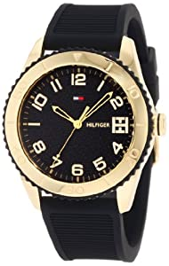 Tommy Hilfiger Women's 1781120 Sport Gold Toned Black silicone Watch
