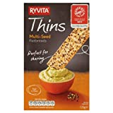 Ryvita Thins Multi-Seed Flatbreads 125g (Pack of 6 x 125g)