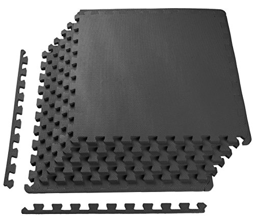 BalanceFrom Puzzle Exercise Mat with EVA Foam Interlocking Tiles, Black