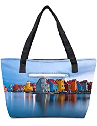 Pack Of 2 Colorful Houses By The Lake World Combo Tote Shopping Grocery Bag With Coin Pencil Purse