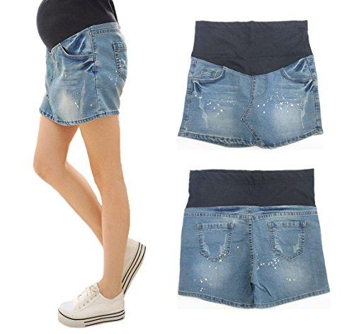 【MIKA&MAYA】 え! パンツ? マタニティ デニム ショート パンツ スカート レディース ウェア マタニティウェア / マタニティー (XLサイズ)