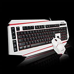 Emarth Wired Gaming Keyboard and Mouse Combo Bundle for PC with Ergonomic Cool LED Backlit Design - White Set