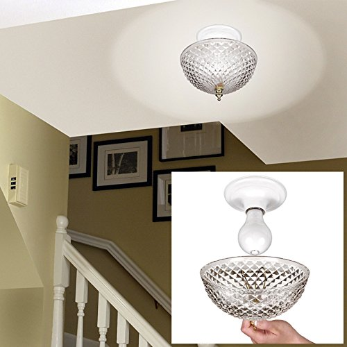 Clip-on Light Shade - Diamond Cut Acrylic Dome Lightbulb Fixture - 7 3/4