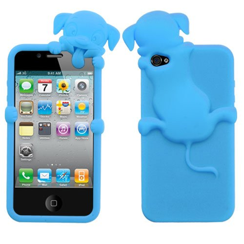 Soft Skin Case Fits Apple Iphone 4 4S Baby Blue Dog Peeking Pets Skin At&T, Verizon (Does Not Fit Apple Iphone Or Iphone 3G/3Gs Or Iphone 5/5S/5C) front-1034898