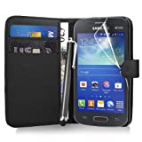 Samsung Galaxy Ace 3 S7270 - Premium Leather Wallet Flip Case Cover Pouch + Screen Protector With Microfibre Polishing Cloth + Touch Screen Stylus Pen By CCUK