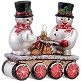 David Strand Kurt Adler Glass Snowmen on Track Cherry Mint Ornament, 4.9-Inch