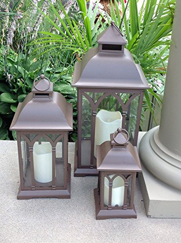 Set of 3 Indoor or Outdoor Lombard Candle Lanterns – Bronze