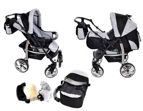 2-in-1-Travel-System-incl-Baby-Pram-with-360-Swivel-Wheels-Pushchair-Accessories-Black-Black-Polka-Dots