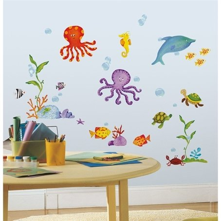 Sea Fish 60 Big Wall Stickers Kids Decals Ocean Beach Octopus Dolphin Turtle Rm2 front-1032678