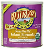 Earths Best Organic Sensitivity Infant Formula with Iron, 23.2 Ounce Canister