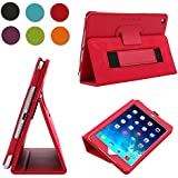 TKOOFN Premium Leather Smart Cover Nubuck Fibre Interior, Folio Case & Stand with Elastic Hand Strap for Apple iPad Mini 2 / Mini 3 [with Retina Display] + Screen Protector + Cleaning Cloth + Stylus, Red - BHK6503