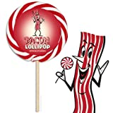 MEAT MANIAC Bacon Lovers Combo Gift Pack with Sticker- Bacon Swirl Lollipop & Bacon Toothpicks