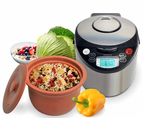 VitaClay Smart Organic Multi-Cooker/Rice Cooker, Brushed Stainless Steel and Black