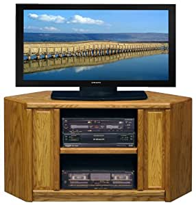 "Contemporary Light Oak Brown 48"" TV Entertainment Corner Console"