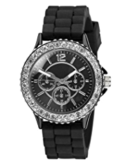 M&S Collection Diamanté Round Face Analogue Sports Strap Watch