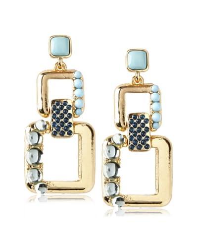 Isaac Mizrahi Blue & Mint Deco Square Link Earrings