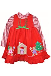 Good Lad Toddler Girls Red Gingerbread Christmas Corduroy Dress
