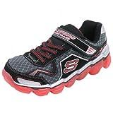 Skechers Kids Boys Skech Air-Turbo Track Athletic Sneaker (Little Kid/Big Kid),Black/Red,4 M US Big Kid (Color: Black/Red, Tamaño: 4 M US Big Kid)