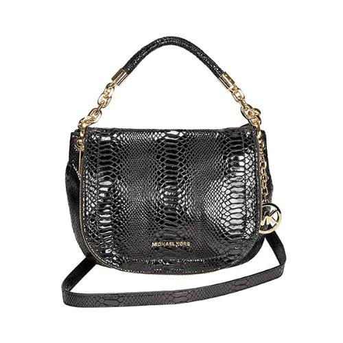 MICHAEL Michael KorsMichael Kors Stanthorpe Black Python-Embossed Leather Shoulder Bag