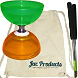 Cyclone Quartz Green Orange Split Colour Bearing Diabolo Aluminium Metal Hand Sticks & Jac Products 100% Cotton Diablo Bag Bundle - 3 items