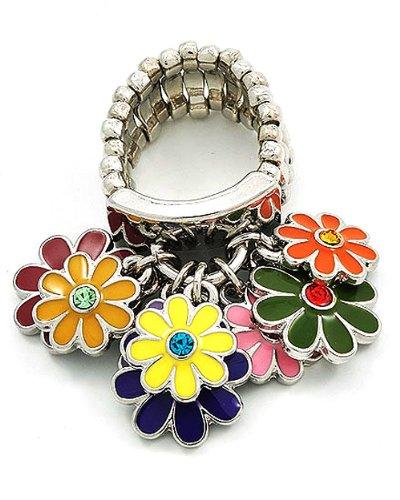 Silvertone Multi Colored Epoxy Flower Charms Stretch Fashion Ring