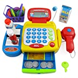 Supermarket Cash Register with Checkout Scanner, Microphone, Calculator, Play Money and Food Shopping Playset for kids